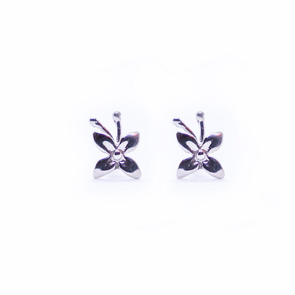 λευκόχρυσα σκουλαρίκια λουλουδι