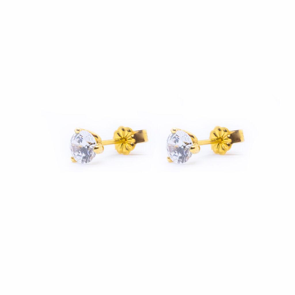 Χρυσά σκουλαρίκια μονοπετρα με ζιργκόν