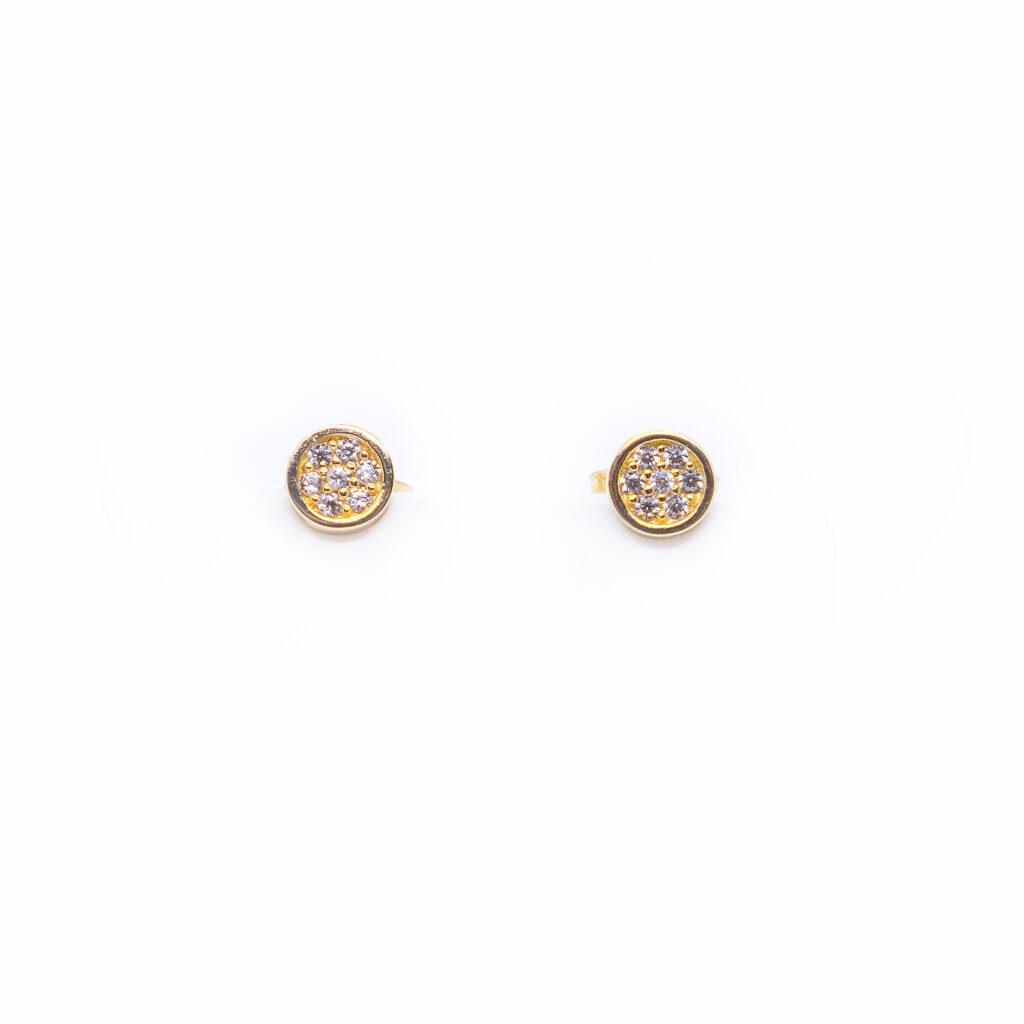Σκουλαρίκια χρυσά στρογγυλά με ζιργκόν