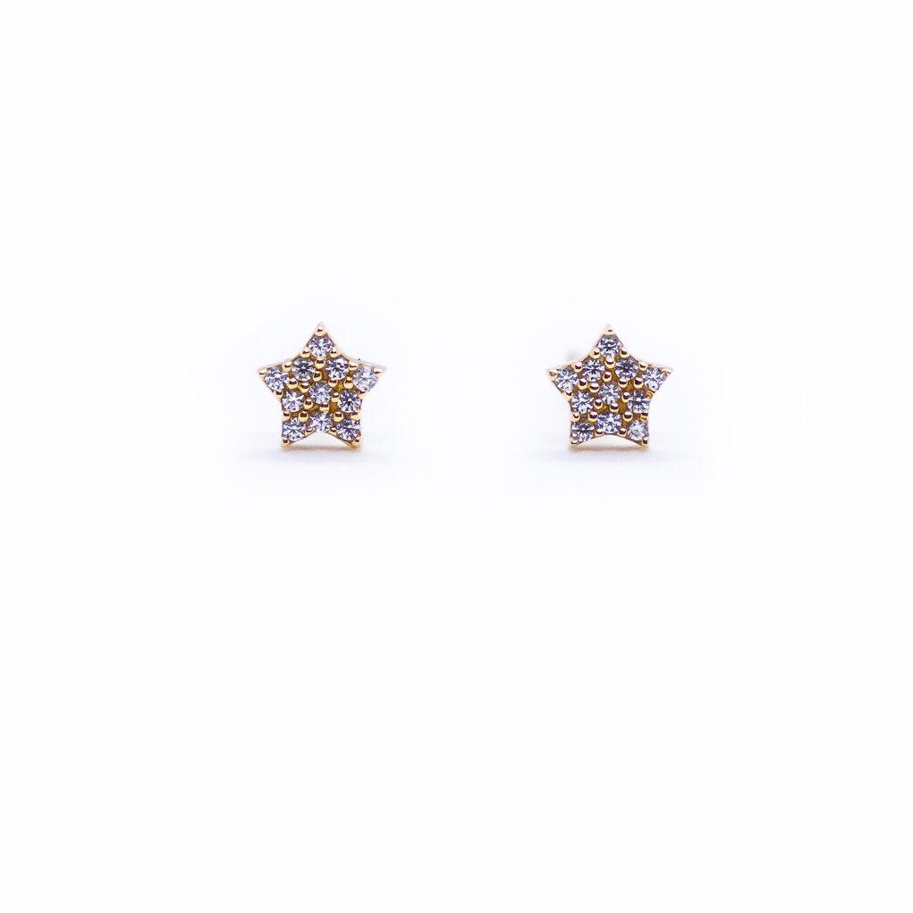Παιδικά σκουλαρίκια αστεράκια χρυσά με λευκά ζριγκόν