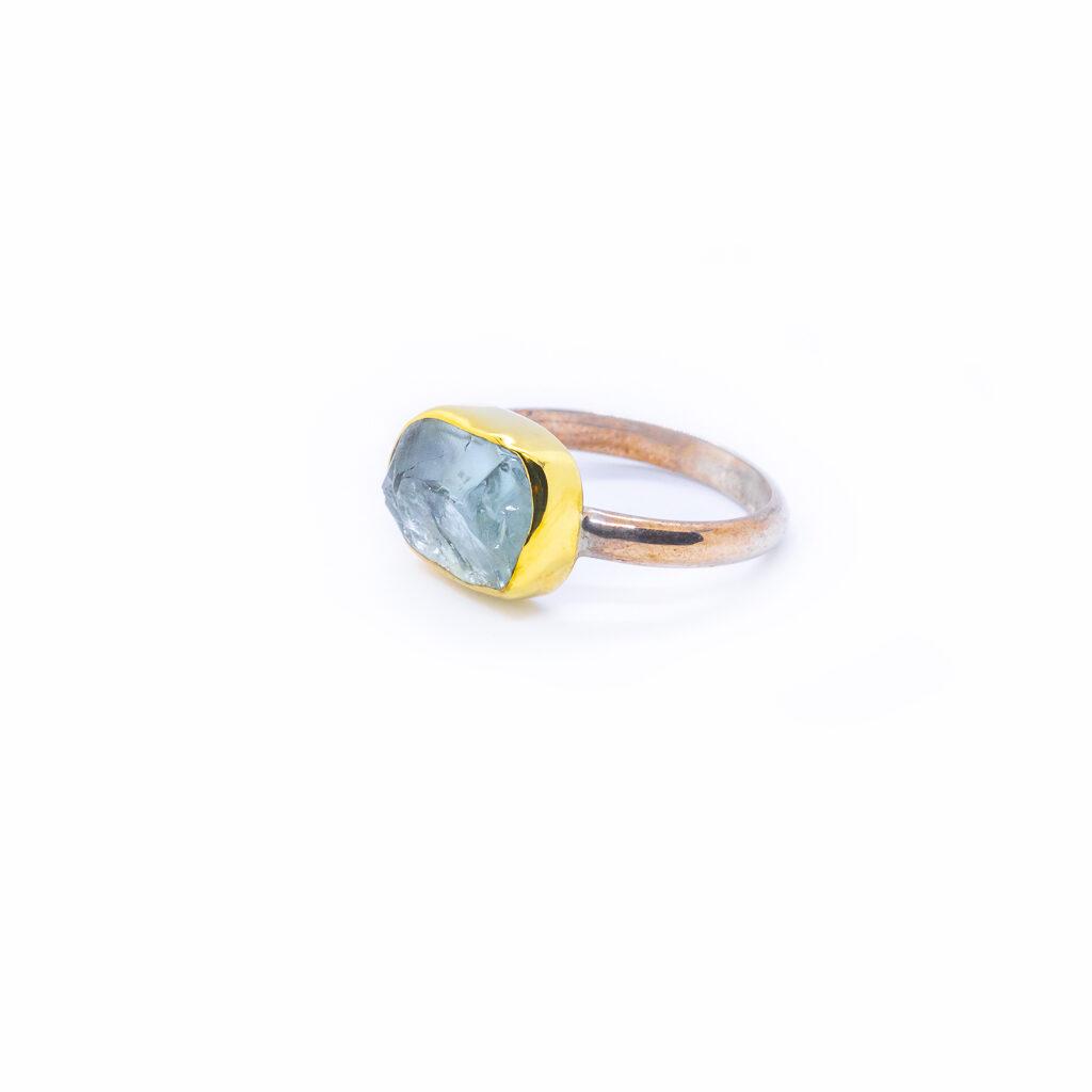 aqua marine silver ring