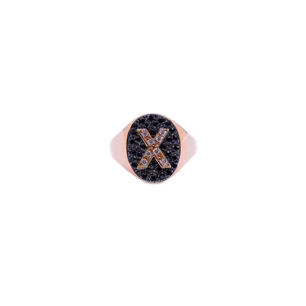Σεβαλιέ Δαχτυλίδι Ροζ χρυσό με μονογραμμα και μαζυρα ζιργκόν