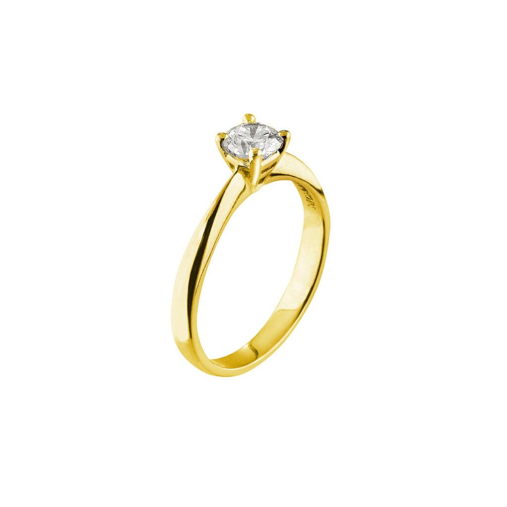 Χρυσό μονόπετρο δακτυλίδι με μπριγιάν Μονογυιός