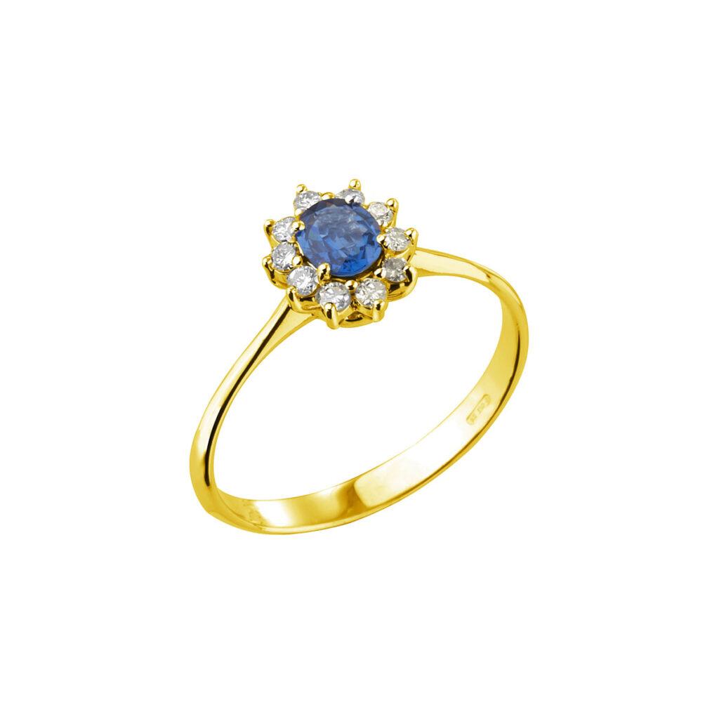 Χρυσό Δαχτυλίδι με ζαφείρι και μπριγιάν