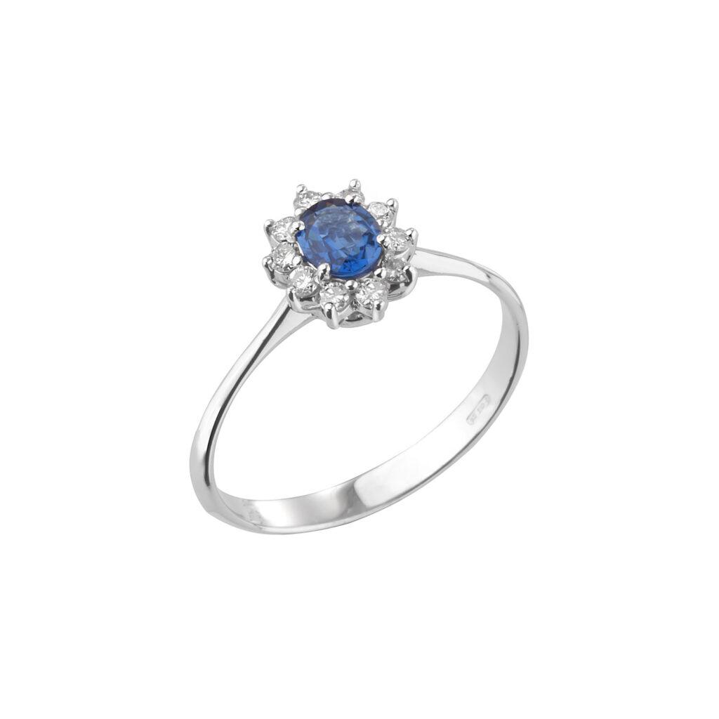 Δαχτυλίδι ροζέτα με ζαφείρι και μπριγιάν. Dianas Ring.