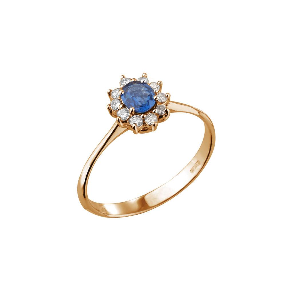 Ροζ Χρυσό Δαχτυλίδι με ζαφείρι και μπριγιάν