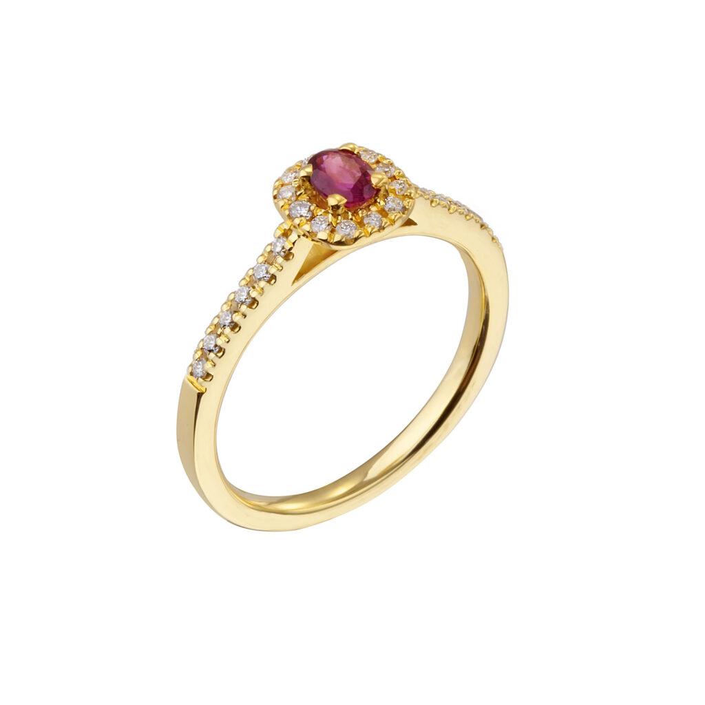 Χρυσό Δαχτυλίδι με ρουμπίνι και μπριγιάν