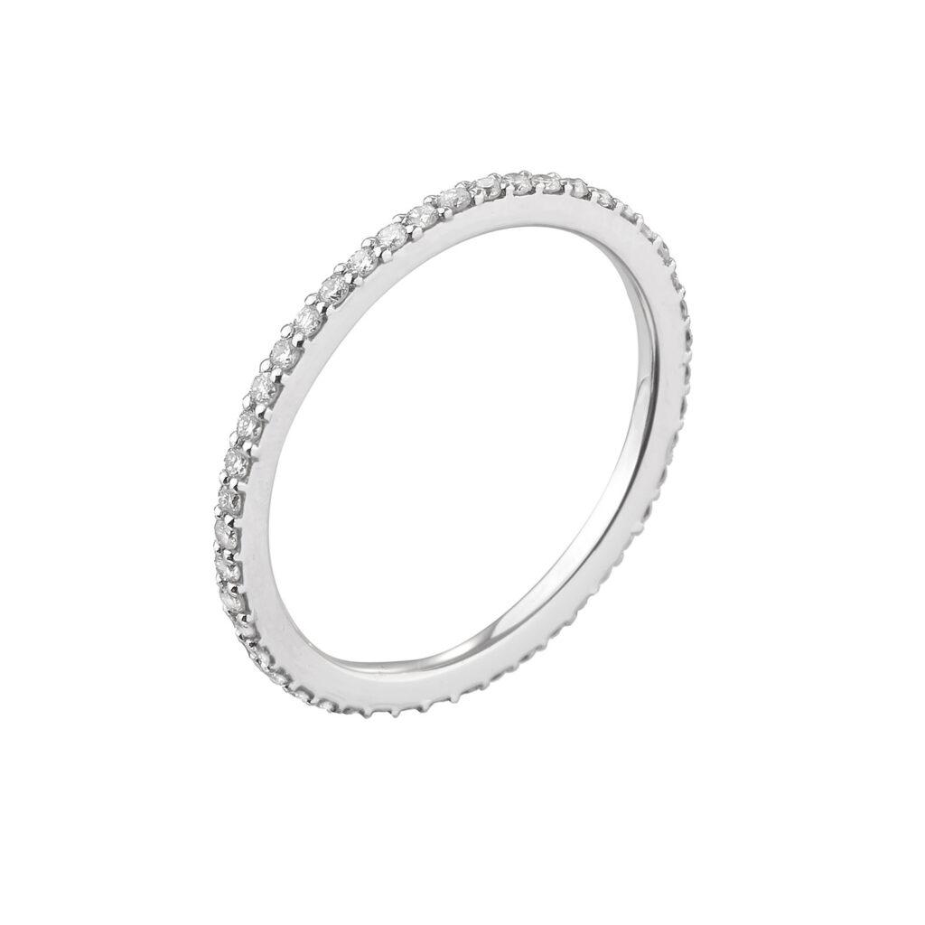 Ολόβερο δαχτυλίδι λευκόχρυσο με μπριγιάν