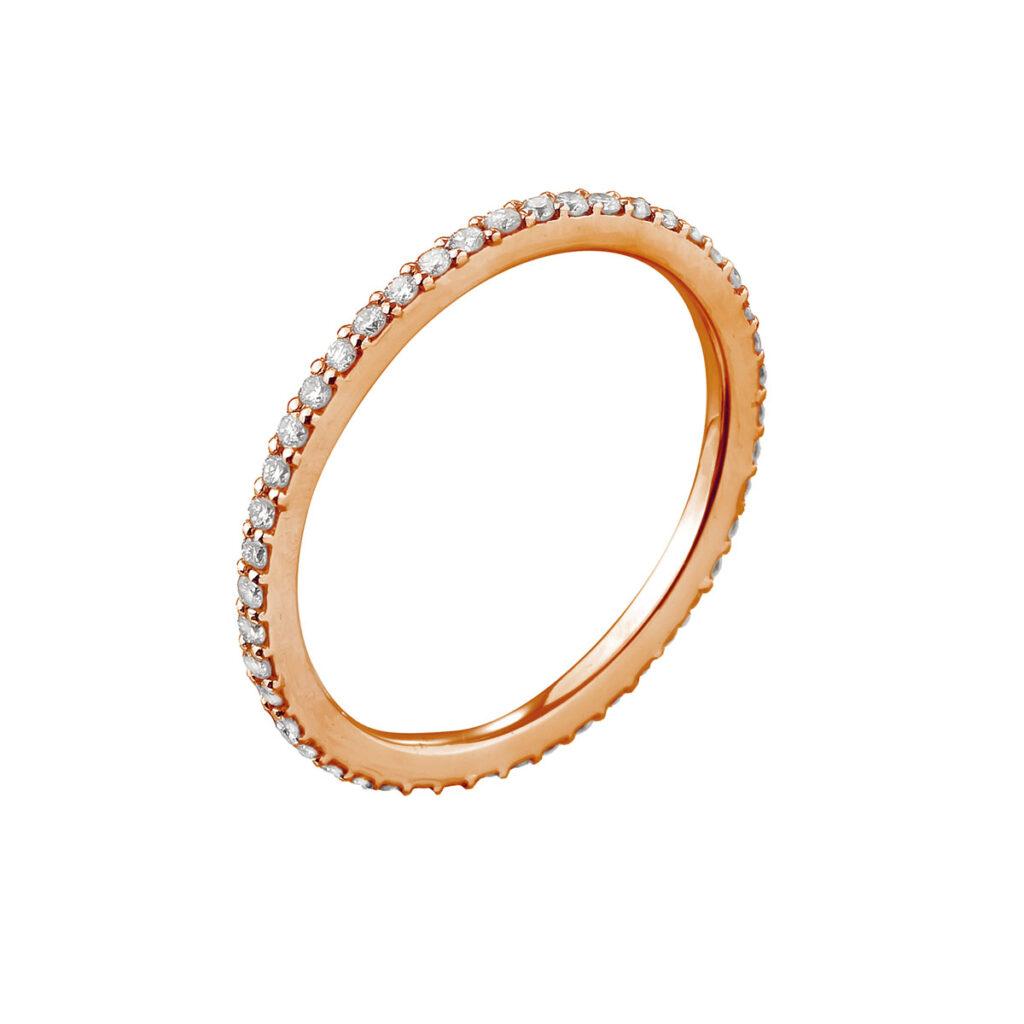 Ροζ χρυσό ολόβερο δαχτυλίδι με μπριγιάν