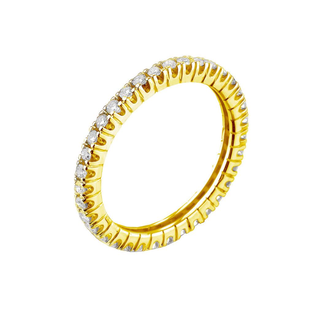 Χρυσό Ολόβερο δαχτυλίδι με μπριγιάν διαμάντια