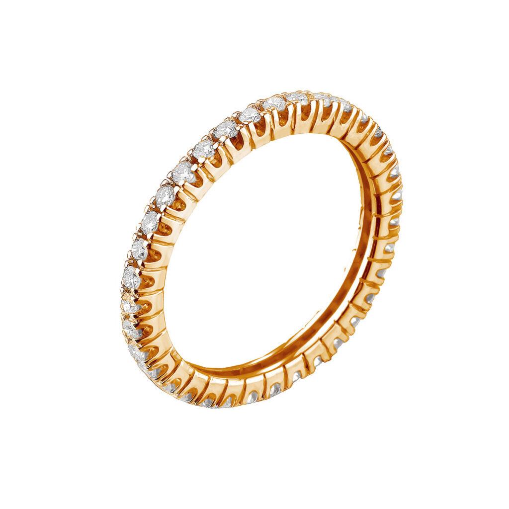 Ροζ χρυσό ολόβερο δαχτυλιδι με διαμάντια μπριγιάν
