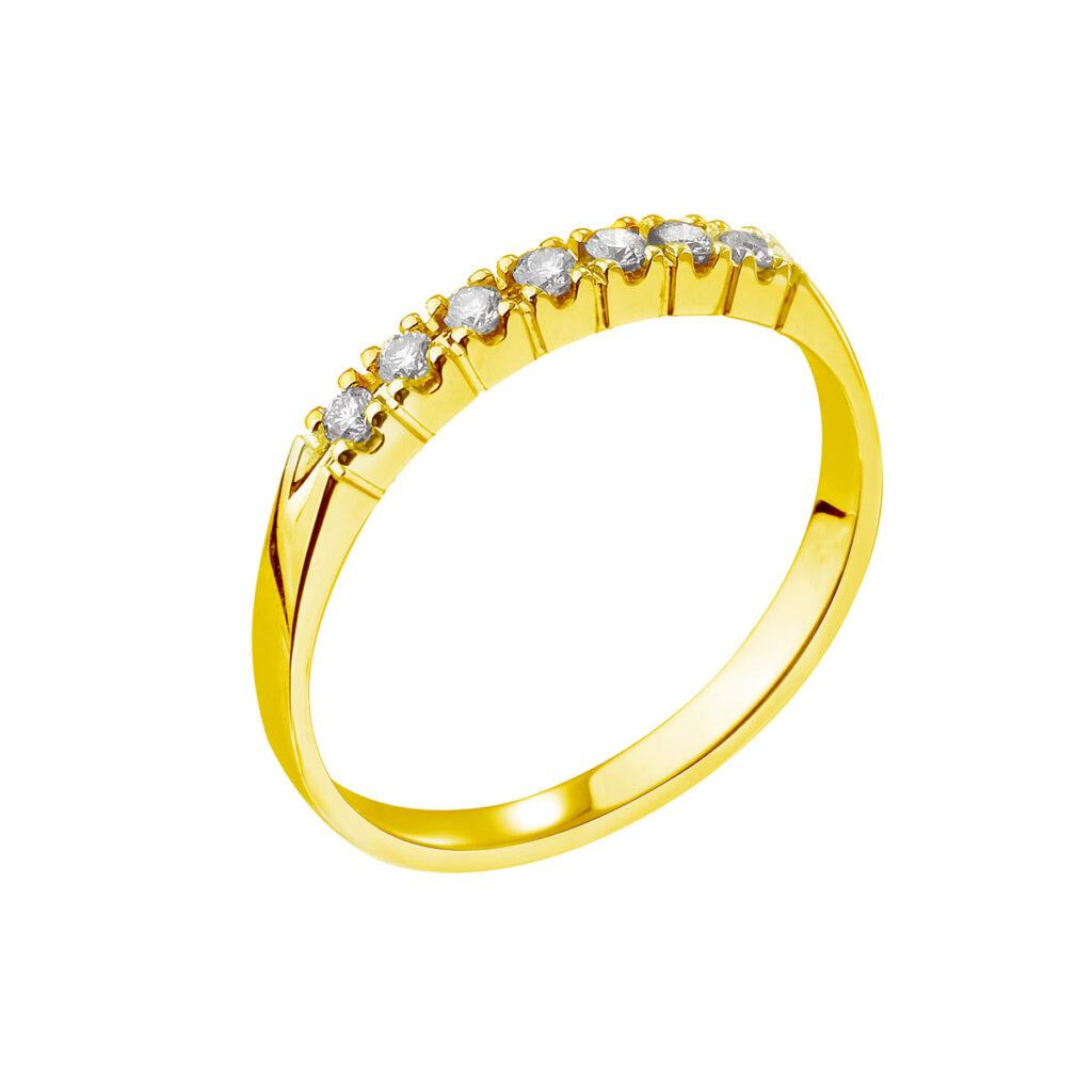 Χρυσό σειρέ δαχτυλίδι με μπριγιαν