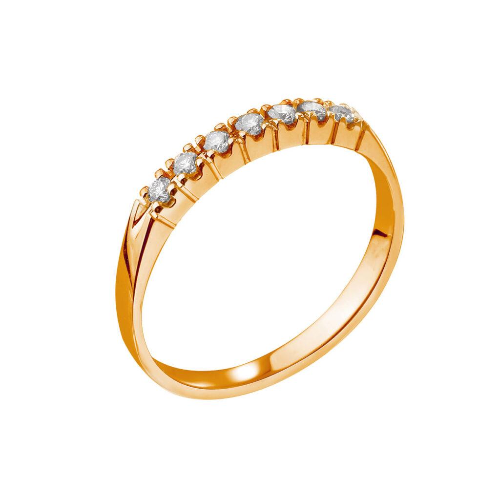 Ροζ χρυσό σειρέ δαχτυλίδι με μπριγιάν