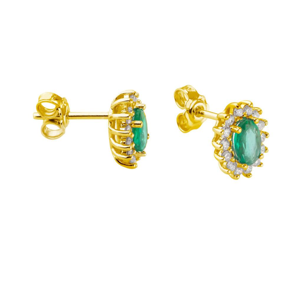 Χρυσά σκουλαρίκια σμαράγδια με μπριγιάν