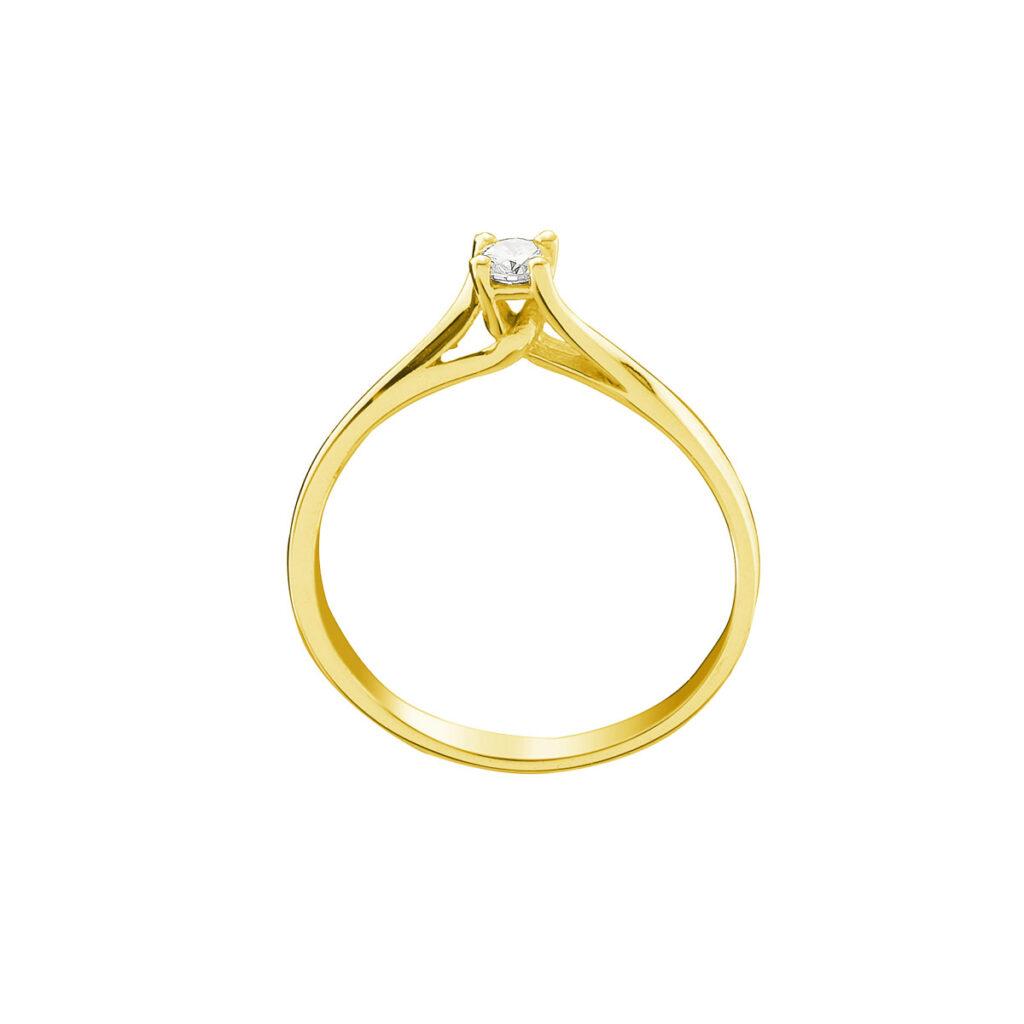 Μονόπετρο χρυσό με μπριγιάν