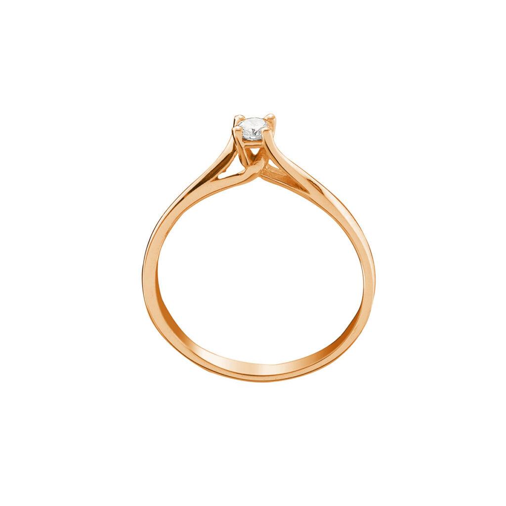 Ρόζ Χρυσό μονόπετρο δαχτυλίδι με μπριγιάν