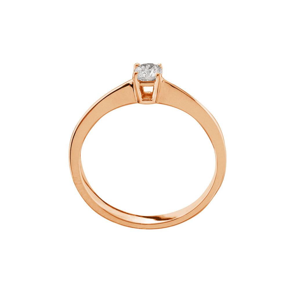 Ρόζ Χρυσό Μονόπετρο δαχτυλίδι με μπριγιάν Μονογυιός