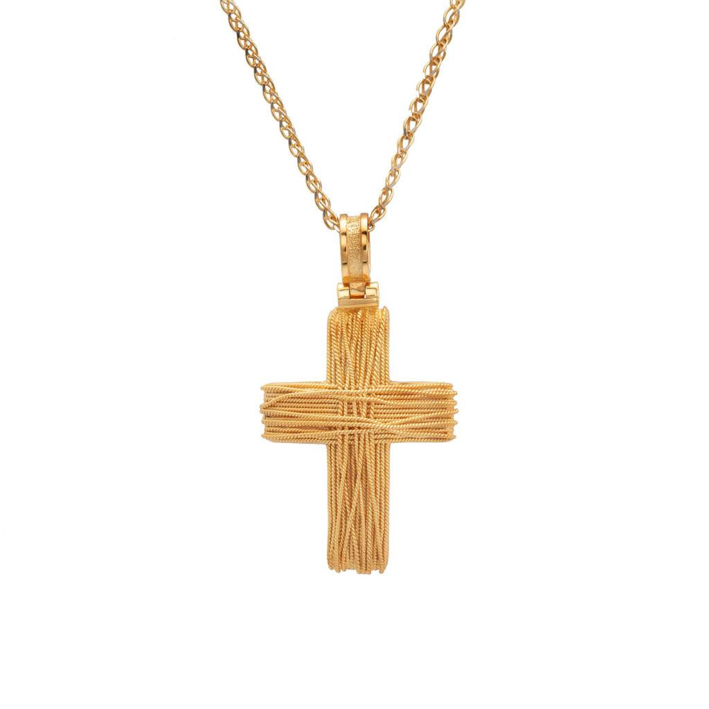 βαπτιστικός σταυρός συρματερος χρυσος